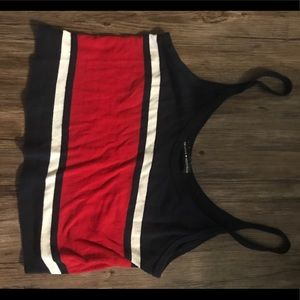 Brandy Melville red and blue striped crop top